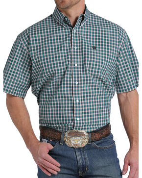 Cinch Men's Teal Plaid Button Down Short Sleeve Shirt , Teal, hi-res