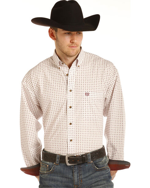 Panhandle Men's White Geo Print Long Sleeve Western Shirt, Brown, hi-res