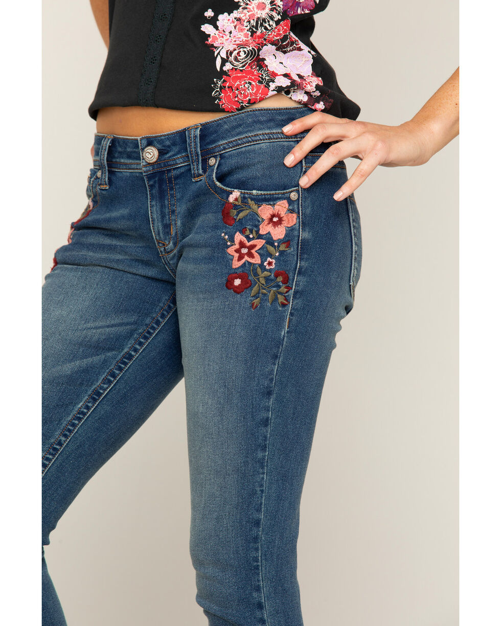 Shyanne Women's Floral Embroidered Jeans - Skinny, Blue, hi-res
