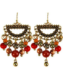Treska Women's Saffron Sunset Bead Fringe Half-Ring Earrings , , hi-res
