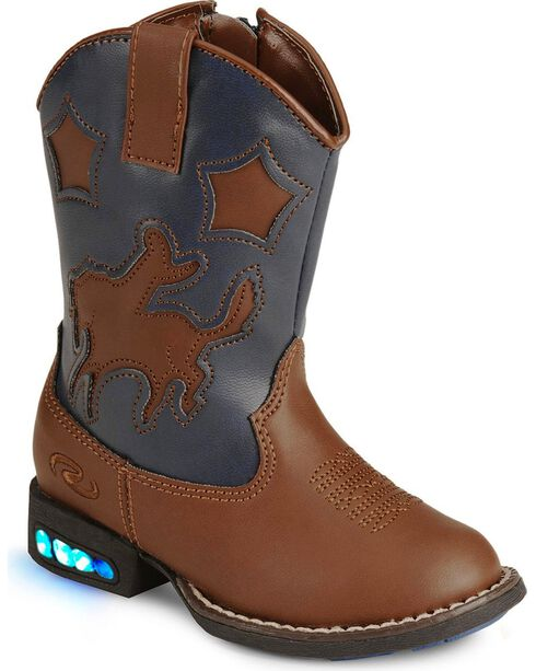 Roper Infant's Motion-Activated Light Up Western Boots, Tan, hi-res