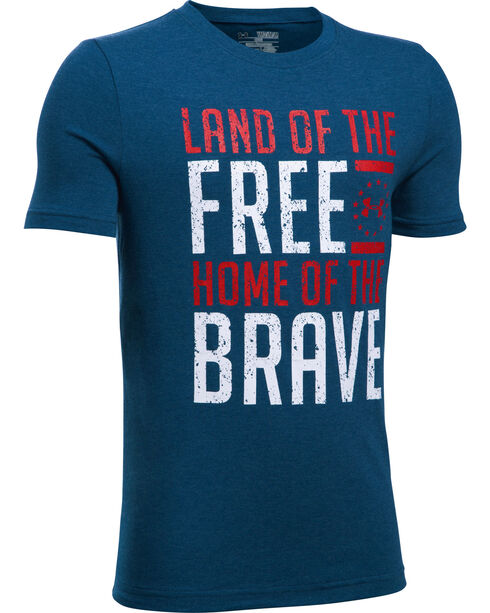 Under Armour Freedom Boys' Navy Land of the Free Tactical Shirt, Navy, hi-res