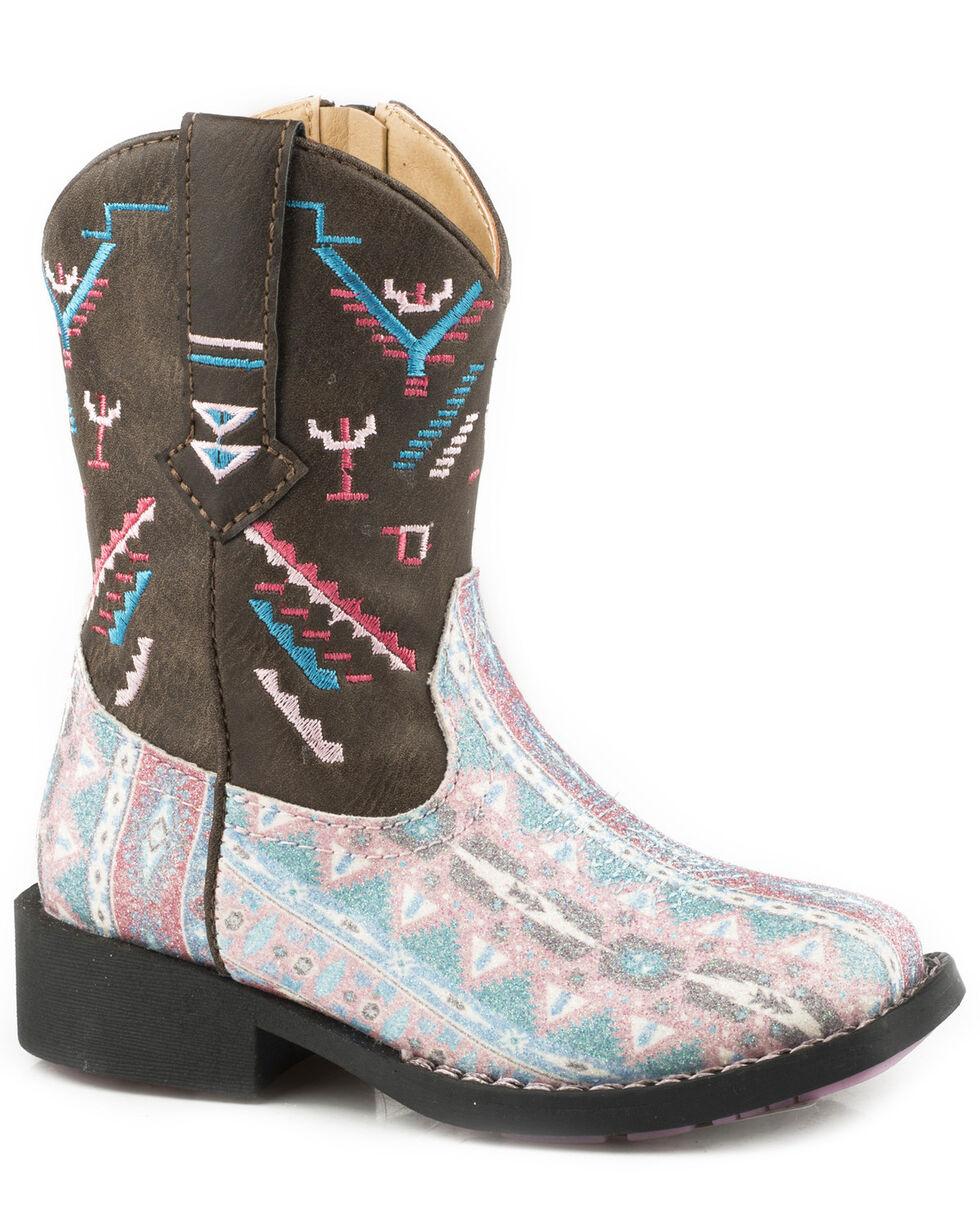 Roper Toddler Girls' Glitter Azteka Cowgirl Boots - Square Toe, Brown, hi-res