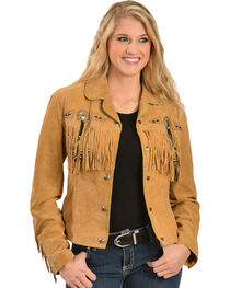 Scully Women's  Suede Leather Fringe Jacket, , hi-res
