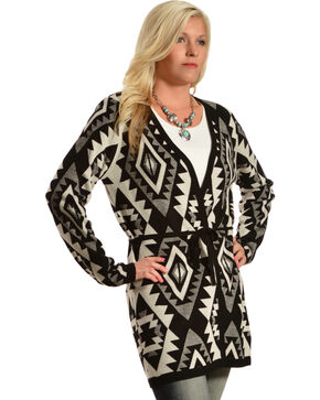Pink Cattlelac Black Aztec Print Long Cardigan , Black, hi-res