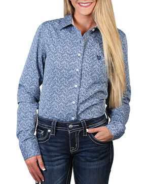 Shyanne® Women's Floral Printed Long Sleeve Shirt, Blue, hi-res