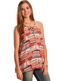 Jody of California Women's Printed Keyhole Sleeveless Top, Coral, hi-res