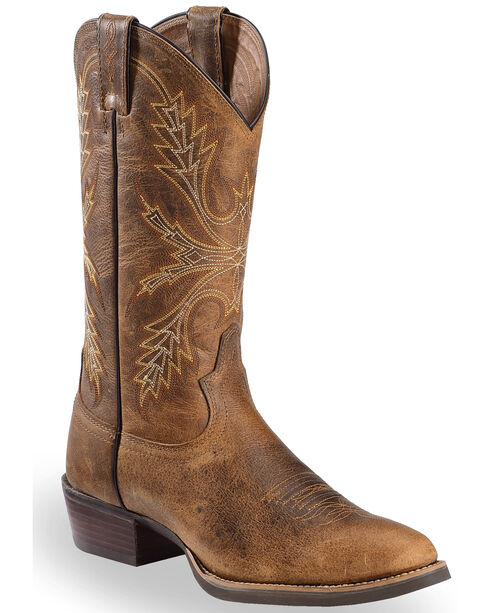 Justin Men's Silver Collection Buffalo Western Boots, Antique Brown, hi-res