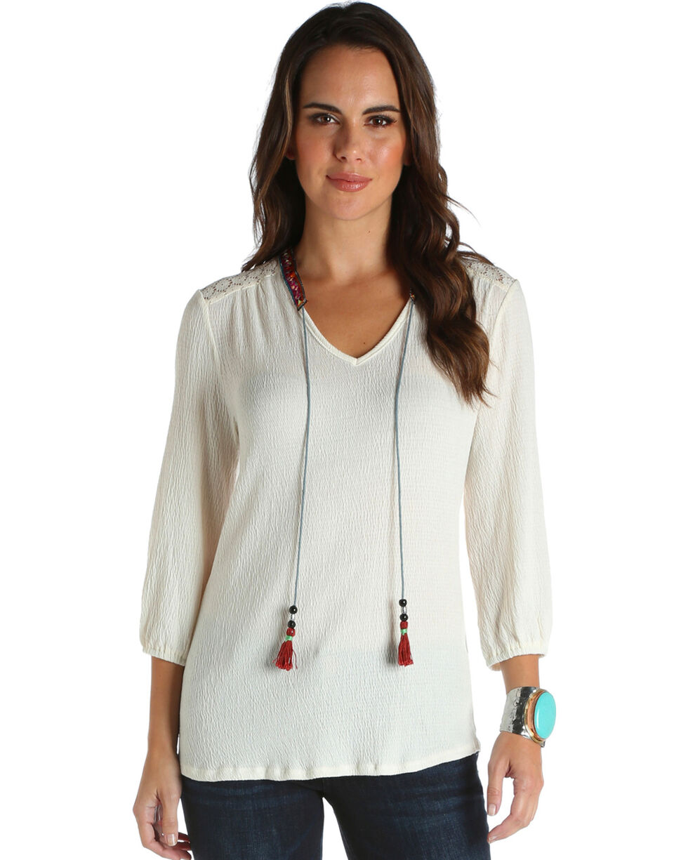 Wrangler Women's Ivory Crochet Shoulder Top , Ivory, hi-res