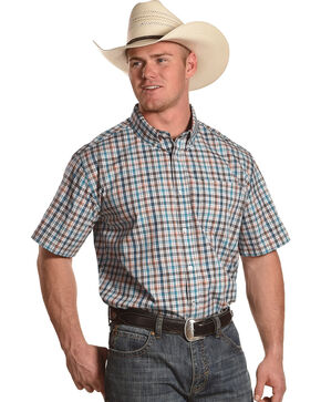 Cody James Men's Frisco Plaid Short Sleeve Shirt, Blue, hi-res