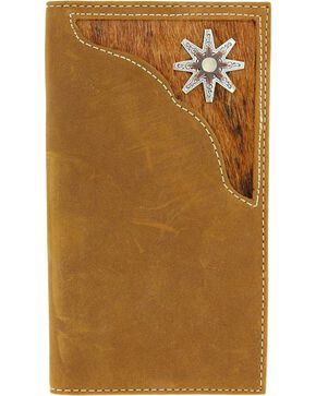 Nocona Hair-on Hide Inlay & Rowel Concho Rodeo Wallet, Med Brown, hi-res