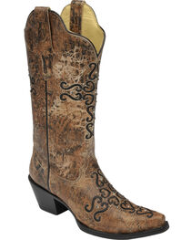 Corral Women's Distressed Crystal Embroidered Cross Western Boots, , hi-res