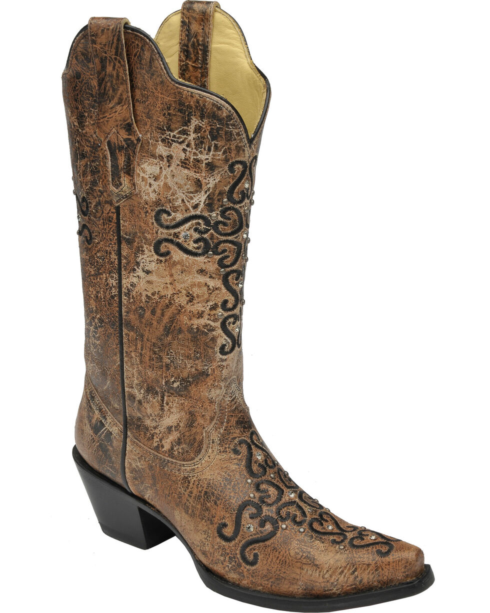 Corral Women's Distressed Crystal Embroidered Cross Western Boots, Bronze, hi-res