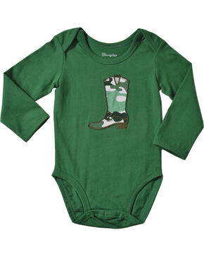 Wrangler Infant Boys' Long Sleeve Green Cowboy Boot Bodysuit, Green, hi-res