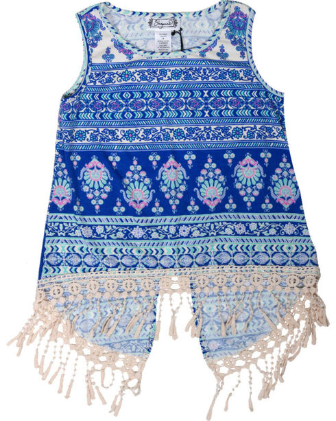 Shyanne® Girls' Fringe Open Back Tank Top , Royal Blue, hi-res