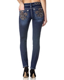 Miss Me Women's Fleur de Lis Skinny Jeans, , hi-res