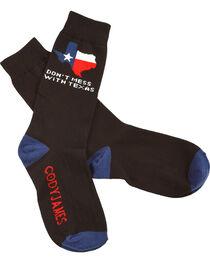 Cody James Don't Mess With Texas Black Crew Socks, , hi-res