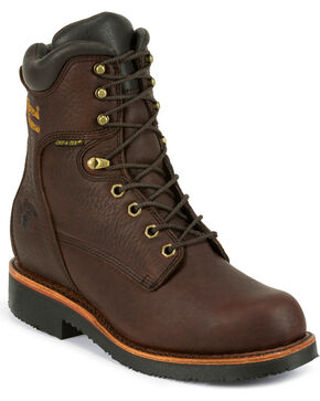 "Chippewa Men's Oiled  8"" Lace-Up Waterproof Work Boots, Walnut, hi-res"