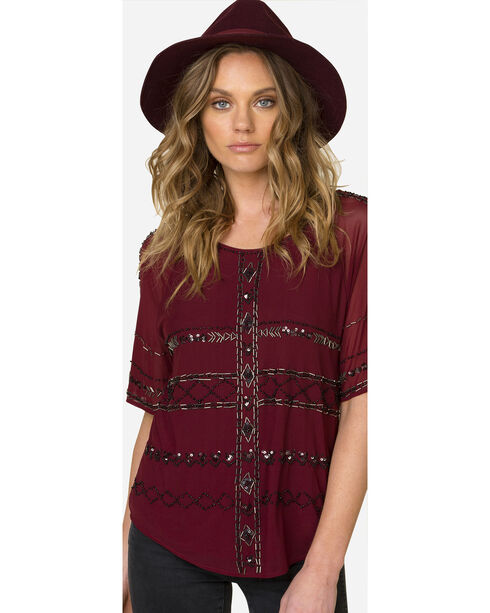Miss Me Women's Sequin Patterned Short Sleeve Top, Wine, hi-res