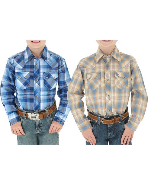 Wrangler Boys' Assorted Vintage Western Plaid Long Sleeve Shirt, , hi-res