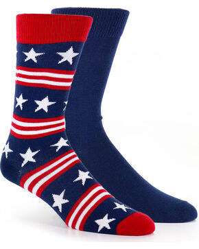 Smart Feet Men's Americana 2 Pair Athletic Crew Socks, Multi, hi-res