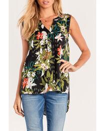 Miss Me Women's Black Floral Printed Henley Top , , hi-res
