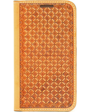Nocona Leather Basketweave Galaxy S4 Case Wallet, Tan, hi-res
