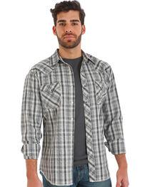 Wrangler Men's Grey Plaid Fashion Snap Long Sleeve Shirt, , hi-res