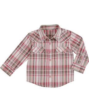 Wrangler Toddler Girls' Plaid Long Sleeve Western Shirt, Pink, hi-res