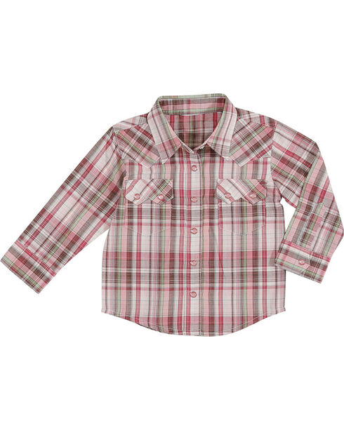 Wrangler Toddler Girls' Plaid Long Sleeve Western Shirt, Pink, hi-res