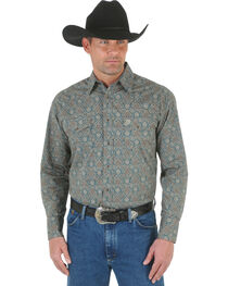 Wrangler George Strait Men's Forest Green Print Poplin Western Shirt , , hi-res