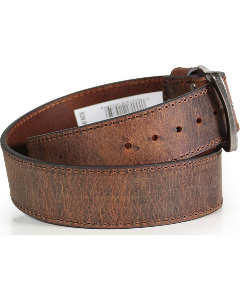 American Worker® Men's Wide Leather Belt, Brown, hi-res