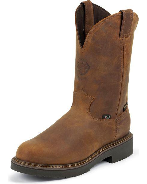 "Justin Men's 10"" Rugged Waterproof Steel Toe Western Work Boots, Aged Bark, hi-res"