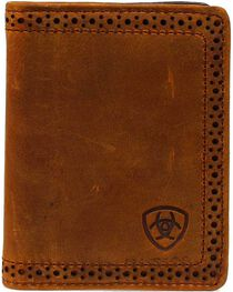 Ariat Perforated Edge & Embossed Logo Bi-fold Wallet, , hi-res
