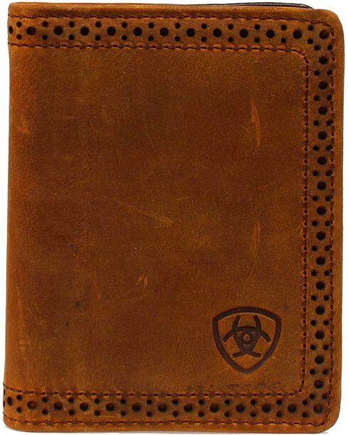 Ariat Perforated Edge & Embossed Logo Bi-fold Wallet, Brown, hi-res