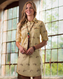 Ryan Michael Women's Yellow Bucking Horse Print Dress, , hi-res