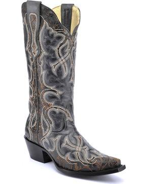 Corral Vintage Black Laser Cowgirl Boots - Snip Toe , Black, hi-res