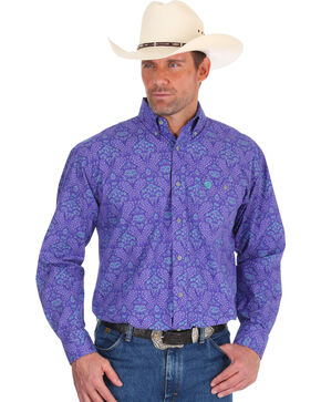 Wrangler Men's Purple George Strait Paisley Print Shirt , Purple, hi-res