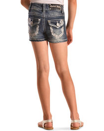 Rodeo Girl Embellished Flap Pocket Denim Shorts , , hi-res