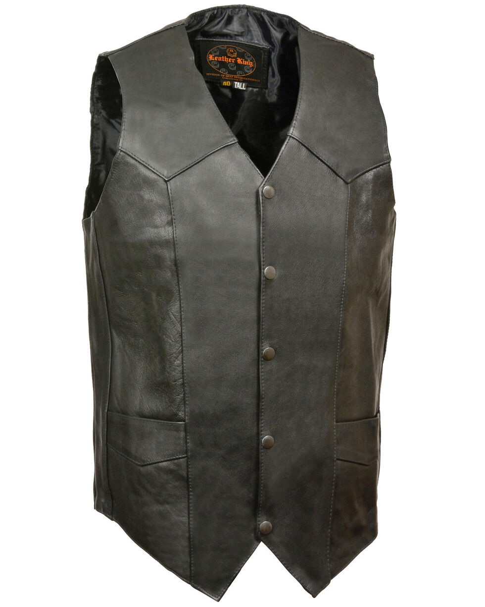 Milwaukee Leather Men's Black Snap Front Biker Vest - 2X Tall, Black, hi-res