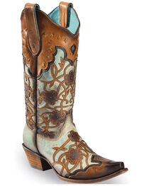 Corral Women's Floral Overlay and Studs Snip Toe Western Boots, , hi-res