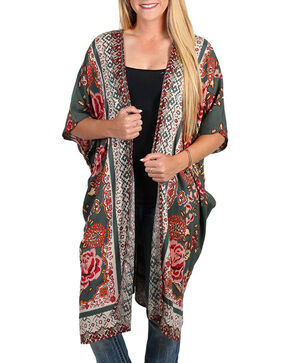 Angie Women's Floral Print Kimono, Olive, hi-res