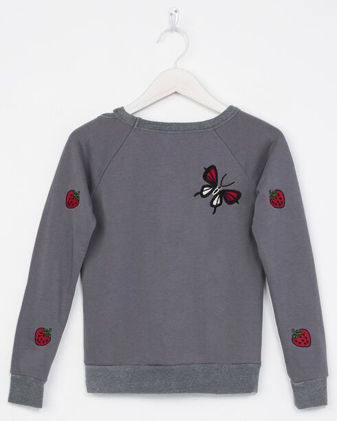 Miss Me Girls' Long Sleeve Butterfly Sweatshirt, Grey, hi-res