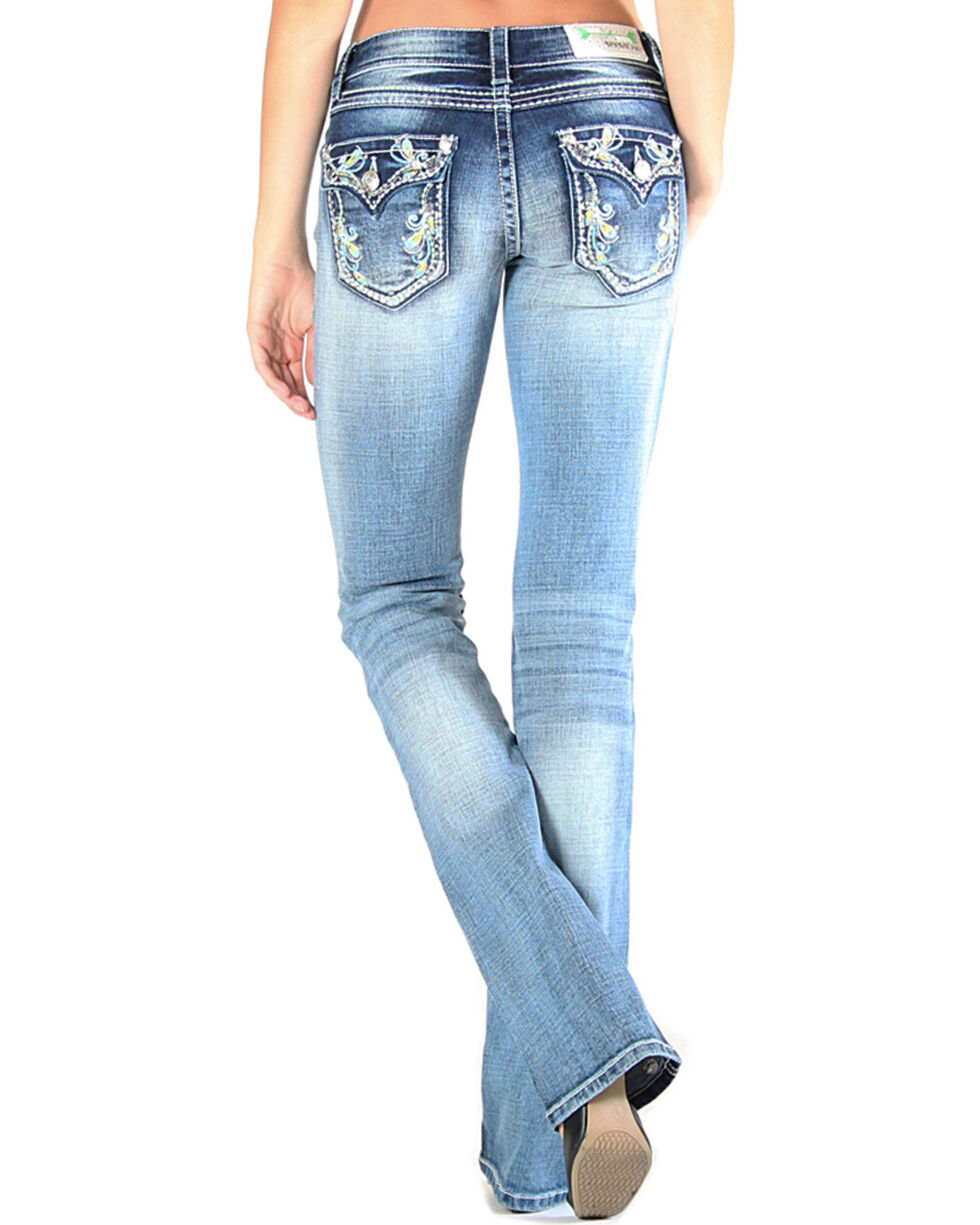 Grace in LA Women's Floral Embroidered Jeans - Boot Cut , , hi-res