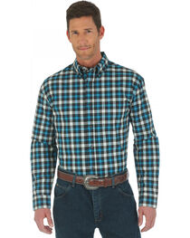 Wrangler Advanced Comfort Black and Blue Plaid Western Shirt, , hi-res
