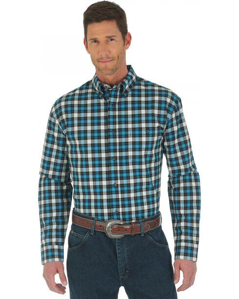Wrangler Advanced Comfort Black and Blue Plaid Western Shirt, Black, hi-res