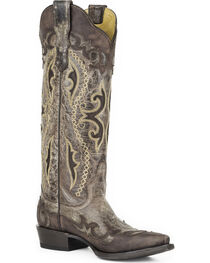 Stetson Women's Vivi Brown Wingtip with Underlays Western Boots - Snip Toe , , hi-res
