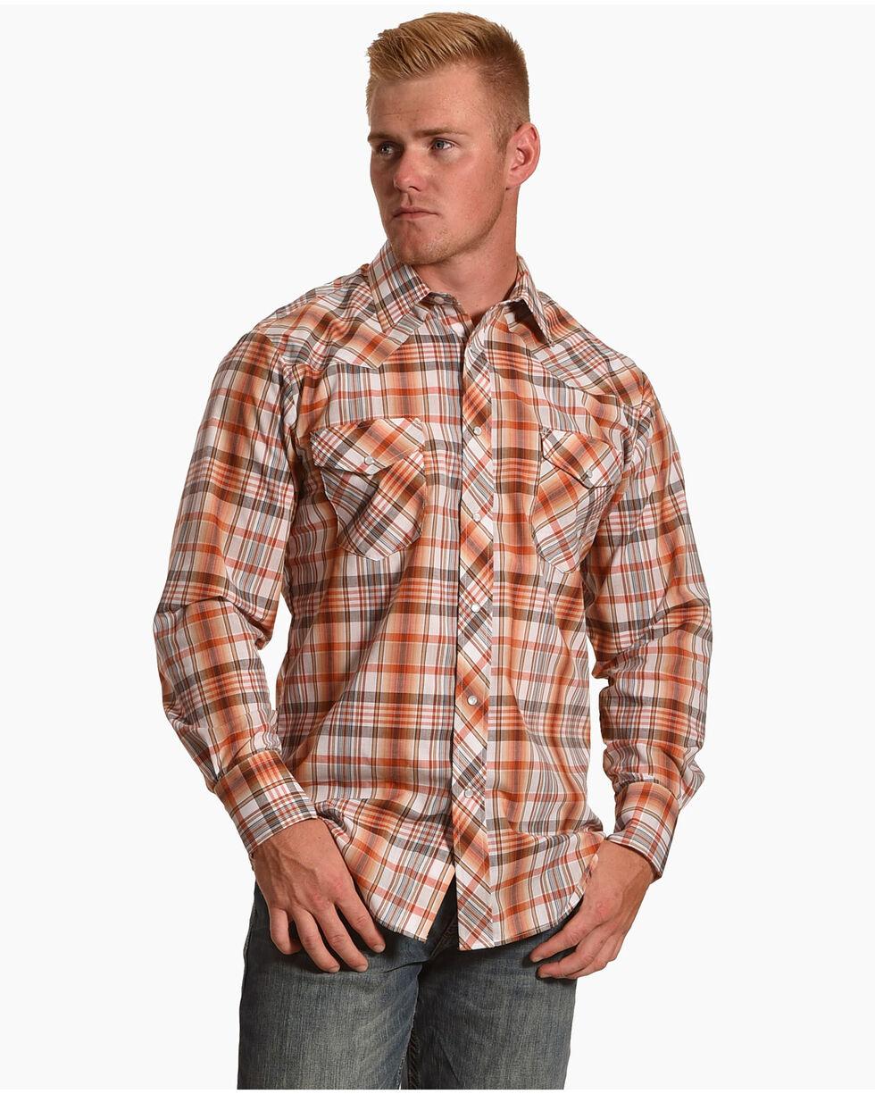 Roper Men's Rust & Cream Plaid Long Sleeve Western Snap Shirt, Medium Red, hi-res