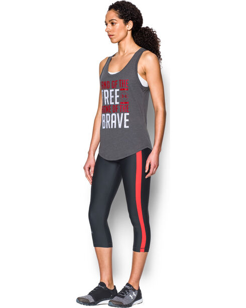 Under Armour Women's Grey Charged Cotton® Tri-Blend Freedom Brave Tank, Charcoal Grey, hi-res