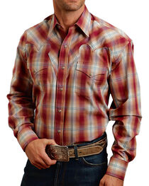 Stetson Men's Red Fire Plaid Long Sleeve Shirt, , hi-res